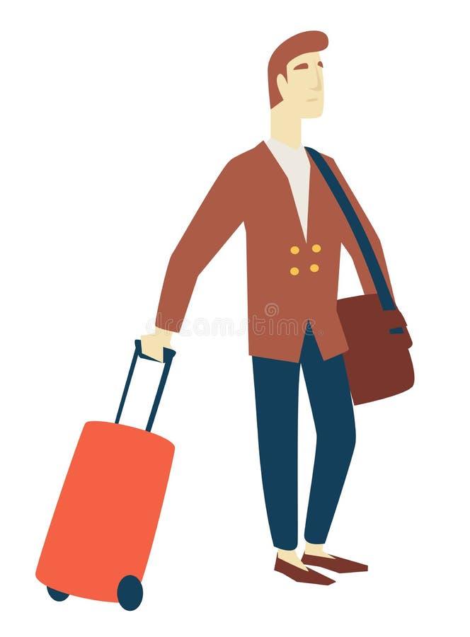 人出差旅行和旅游业等待的飞行 向量例证