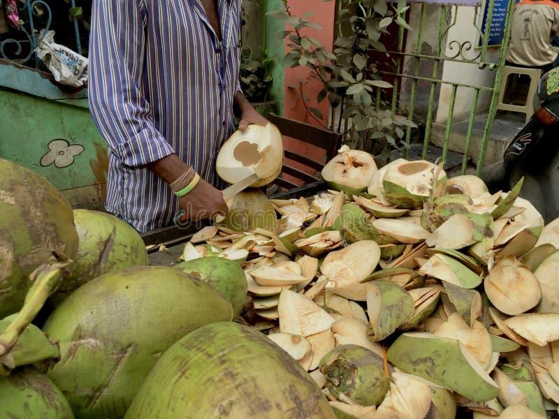 人切嫩椰子的特写 库存照片