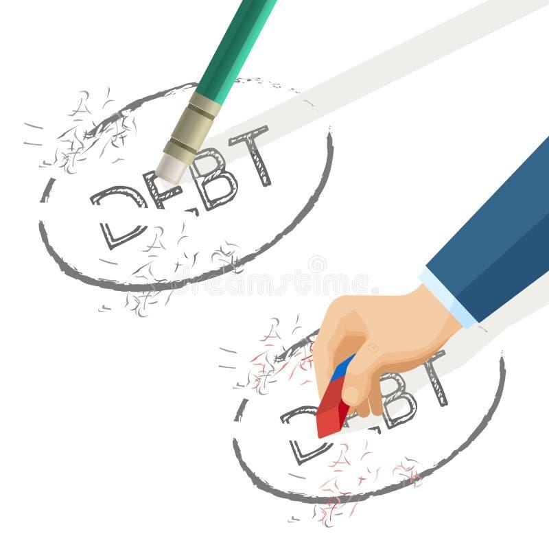 人删掉在纸写的词债务,传染媒介例证 库存例证