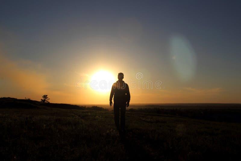 人剪影一个领域的在日落 免版税库存照片