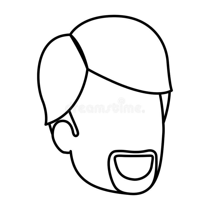 人剪影剪影匿名与van dyke胡子和边被分开的头发 向量例证