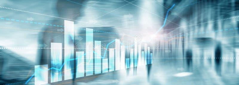 人剪影城市背景的金融投资或经济趋势企业想法和书刊上的图片设计的 ??d 免版税库存照片