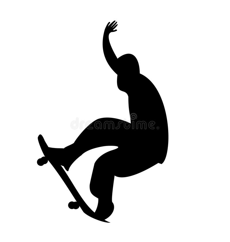 人剪影滑板 库存例证