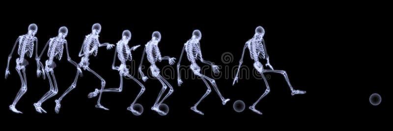 人力使用的概要足球X-射线 库存图片