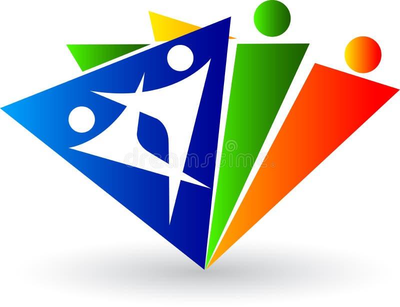 人力徽标三角 库存例证