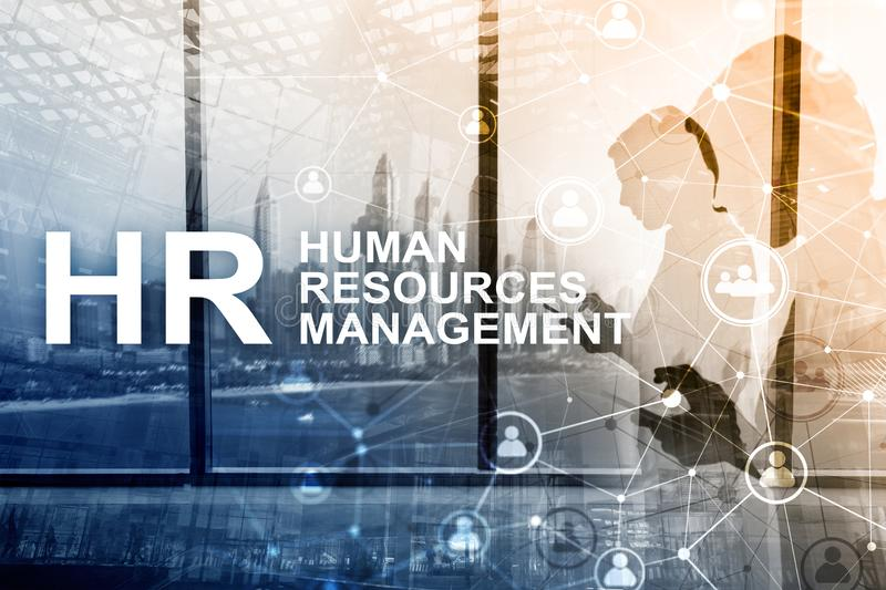人力调配、HR、对组织工作和补充概念在被弄脏的背景 库存图片