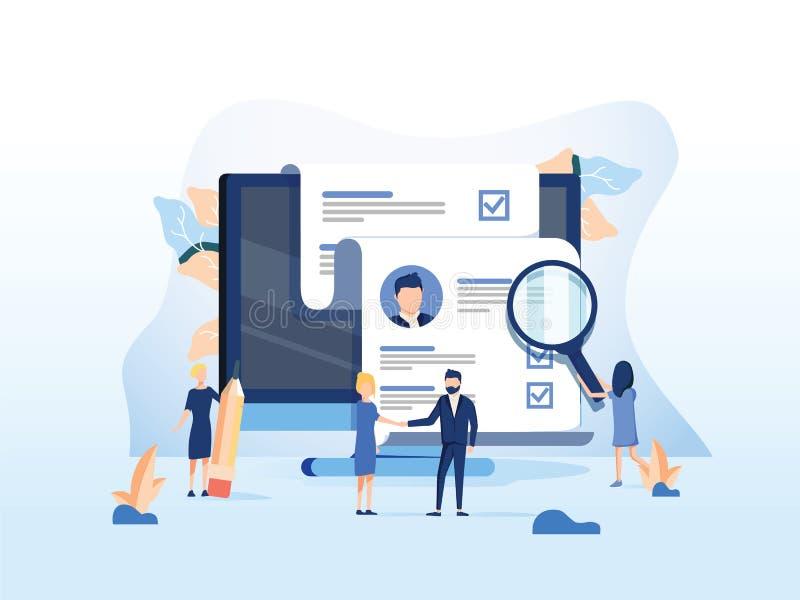 人力资源、补充概念网页的,横幅介绍、社会媒介、文件卡片和海报 向量例证