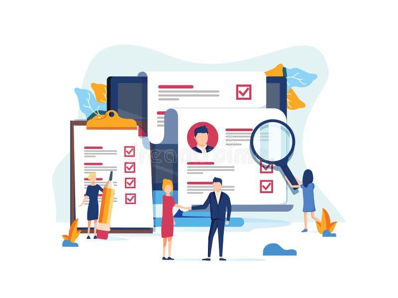 人力资源、补充概念网页的,横幅介绍、社会媒介、文件卡片和海报 皇族释放例证