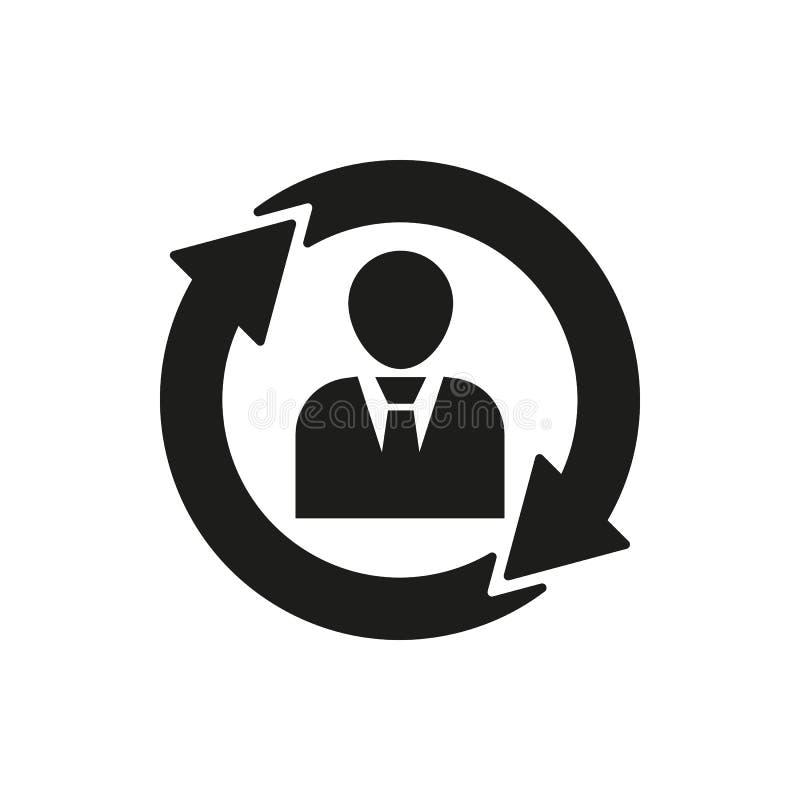 人力资源象 管理和自转,合作,通信标志 Ui 网 徽标 标志 平的设计 库存例证