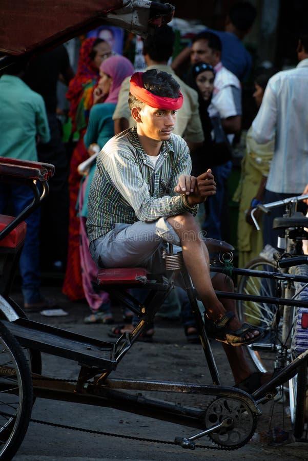 人力车司机在印度,从亚洲的旅行场面 免版税图库摄影