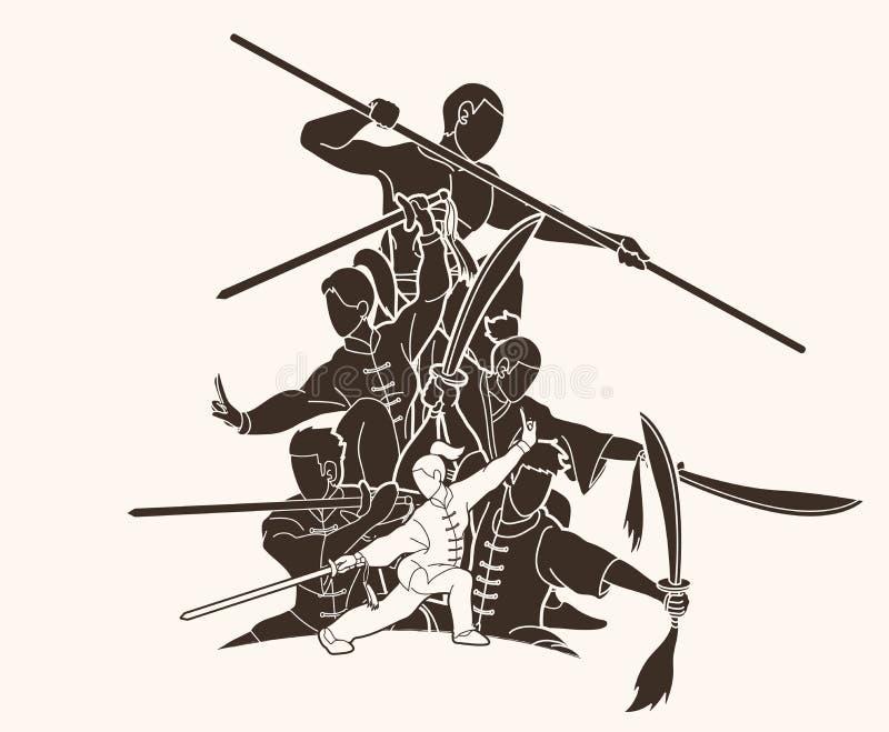 人功夫战斗机,与武器行动动画片图表的武道 皇族释放例证