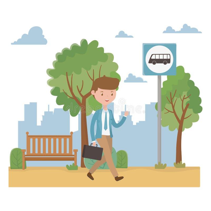 人动画片和公交车站设计 库存例证