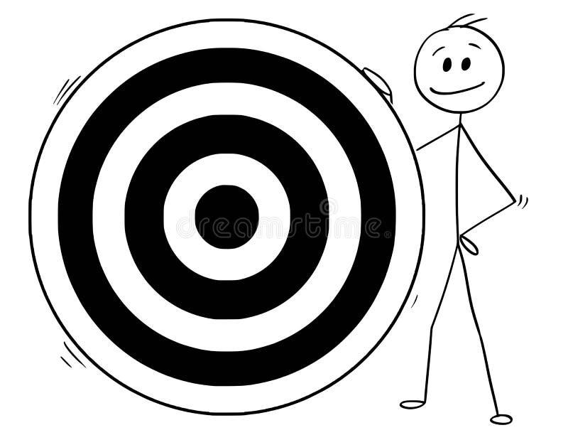 人动画片或商人和大掷镖的圆靶目标 皇族释放例证
