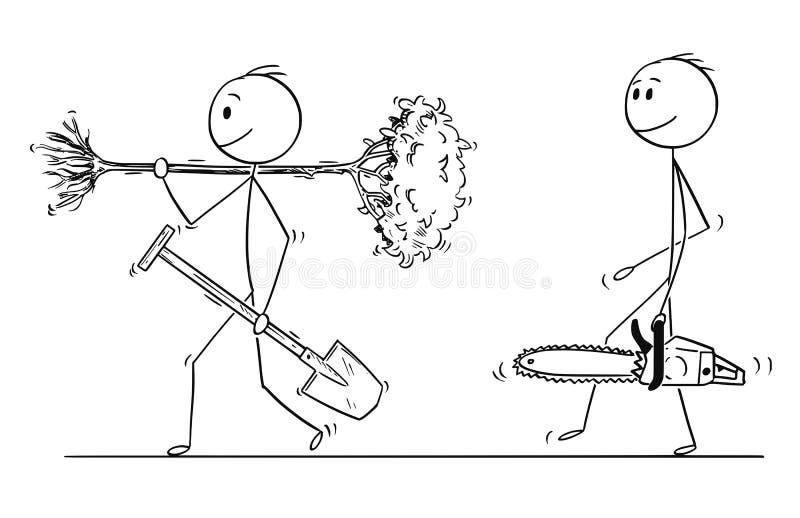 人动画片有去的锹的种植树,有锯的另一个人切开它下来 库存例证
