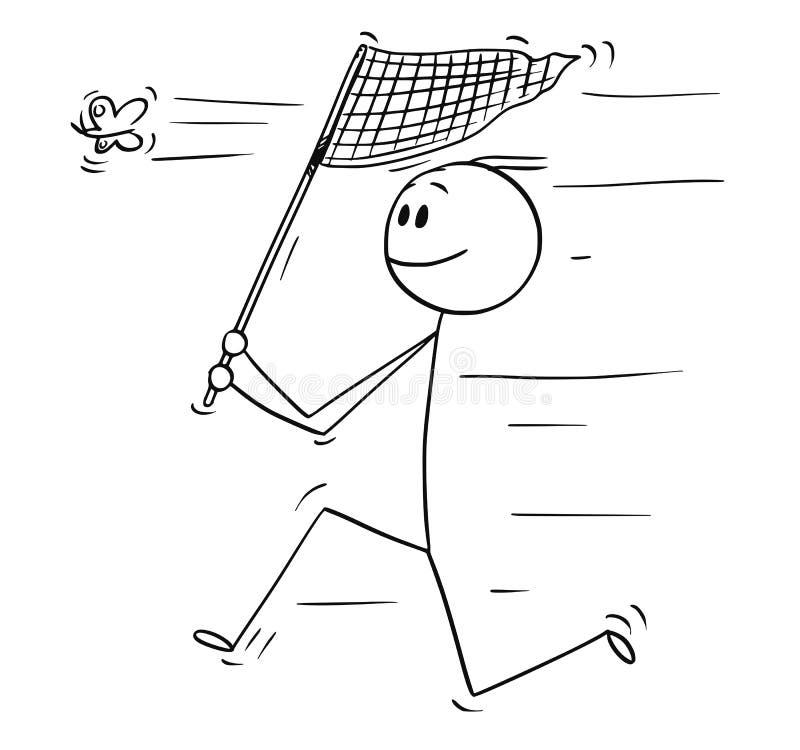 人动画片有捉住蝴蝶的网的 向量例证