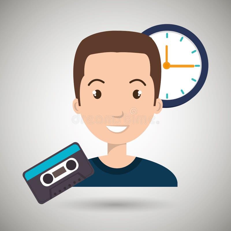 人动画片卡式磁带 向量例证