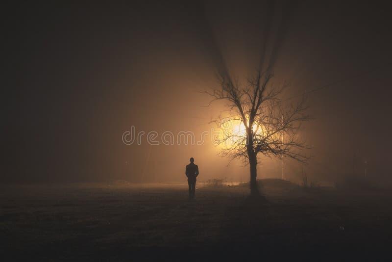 人单独站立在有雾的夜 免版税库存图片