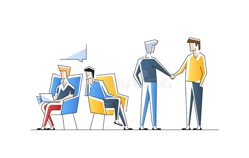 人参加业务会议,正式讨论,会议 男性角色互相谈话,交换 向量例证