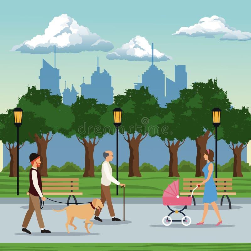 人参观的城市公园长椅灯postlight树 皇族释放例证