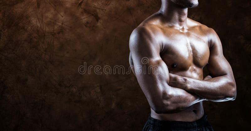 黑人反对棕色背景的健身躯干的综合图象 向量例证