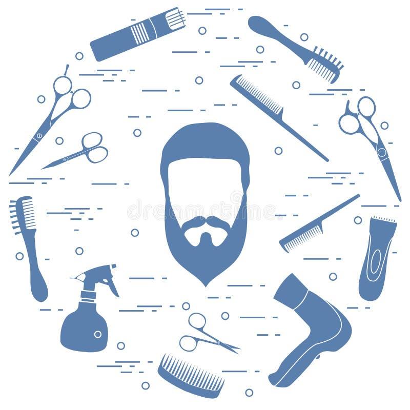 人发型、胡子和髭, hairdresse的例证 向量例证