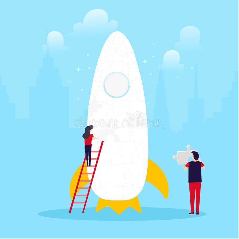 人发射的起动、企业成功、配合概念与火箭和难题在蓝色背景 向量例证