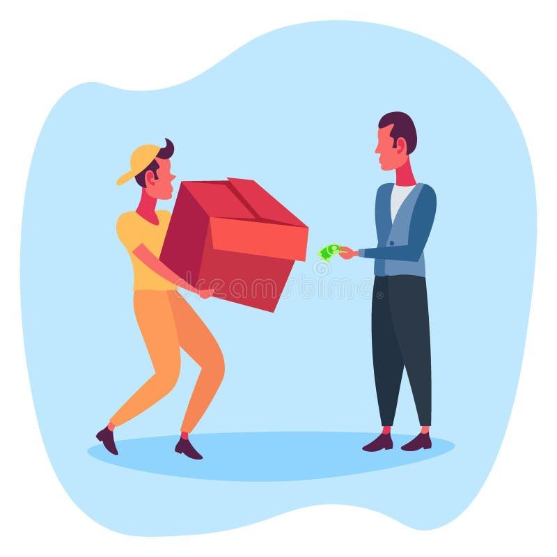 人变动纸板箱从传讯者到金钱美元卖主顾客关系给小包买家的概念邮差 库存例证