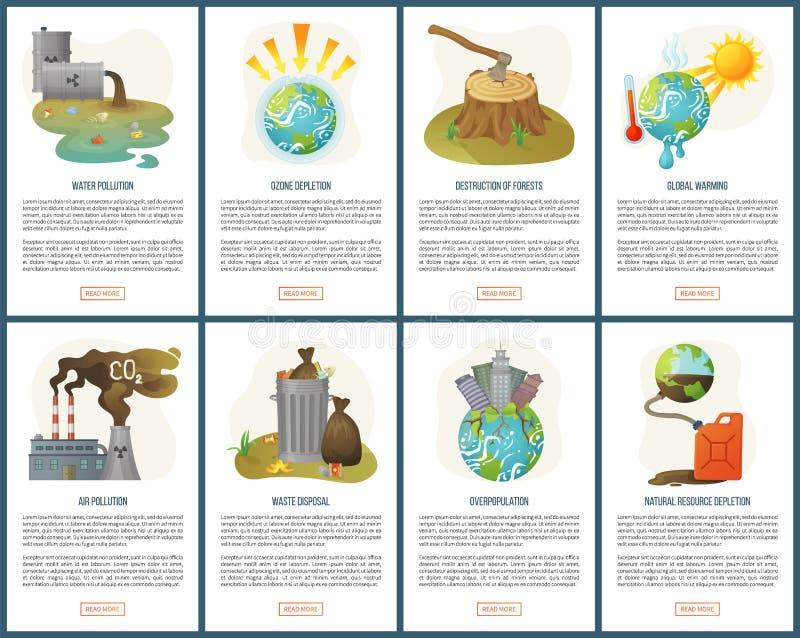 人口过剩和森林破坏网站集合 向量例证
