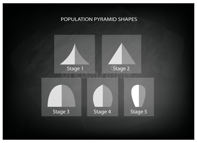 人口年龄金字塔的不同的类型在黑板背景的 向量例证