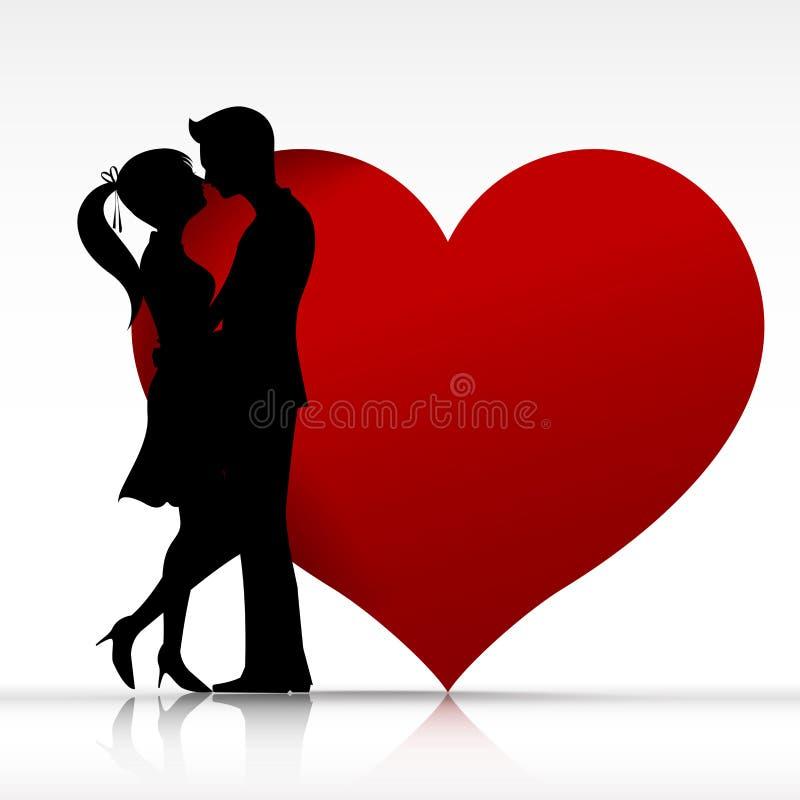 002人和亲吻与爱剪影的妇女couper设计ele 向量例证