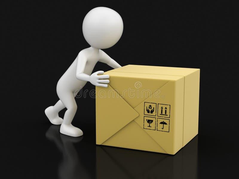 人和包裹(包括的裁减路线) 向量例证