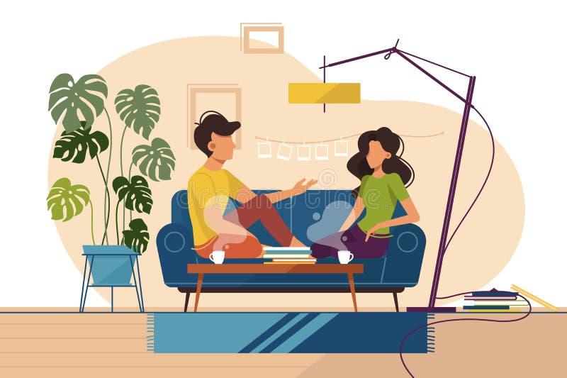 人和女孩夫妇在家坐长沙发 向量例证