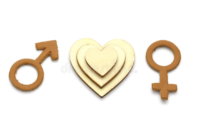人和女性有爱抽象符号的被隔绝的由皮革制成在白色背景 免版税库存照片