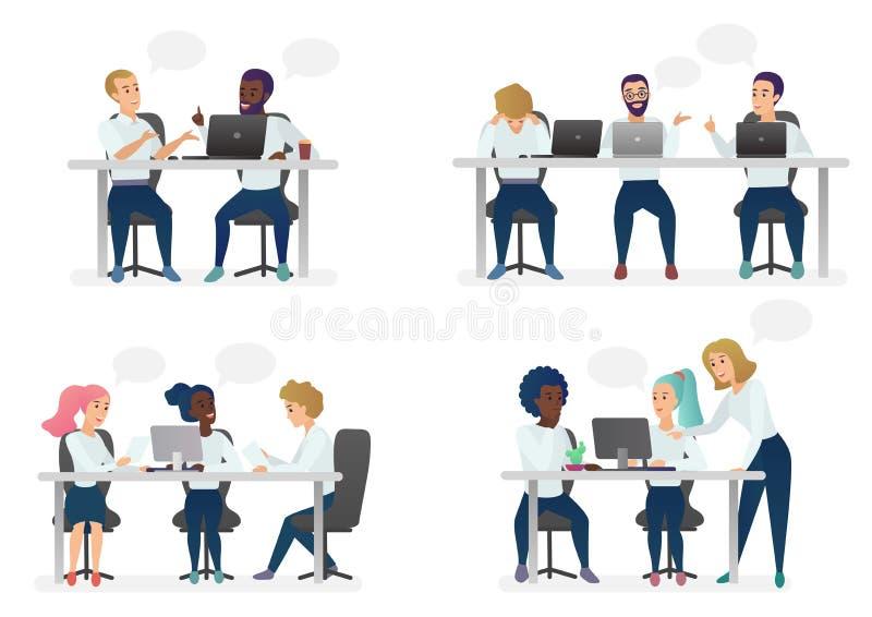 人和妇女人坐,工作在书桌和站立在现代办公室,工作在计算机和谈话与 库存例证
