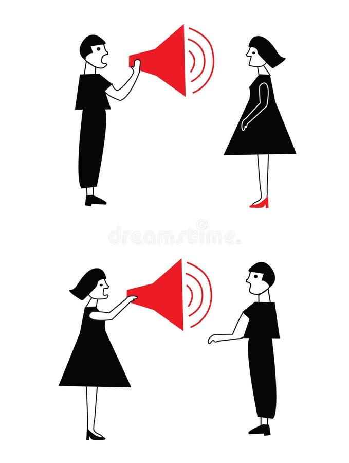 人和妇女冲突和通信 皇族释放例证