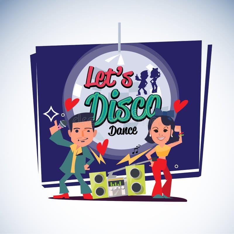 人和妇女跳舞在迪斯科样式与音乐从葡萄酒收音机 灯在背景中 让我们印刷的迪斯科-传染媒介 库存例证