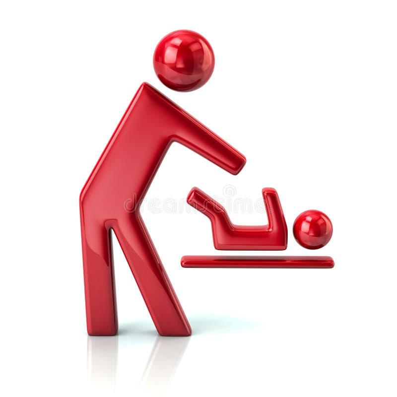 人和婴孩改变的尿布象的红色标志 库存例证