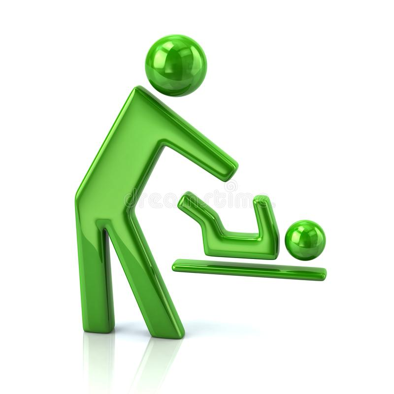 人和婴孩改变的尿布象的绿色标志 皇族释放例证