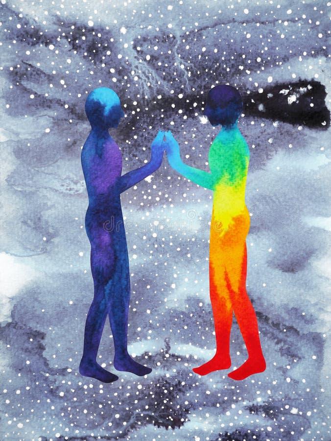 人和宇宙力量,水彩绘画, chakra reiki,在您的头脑里面的世界宇宙 向量例证