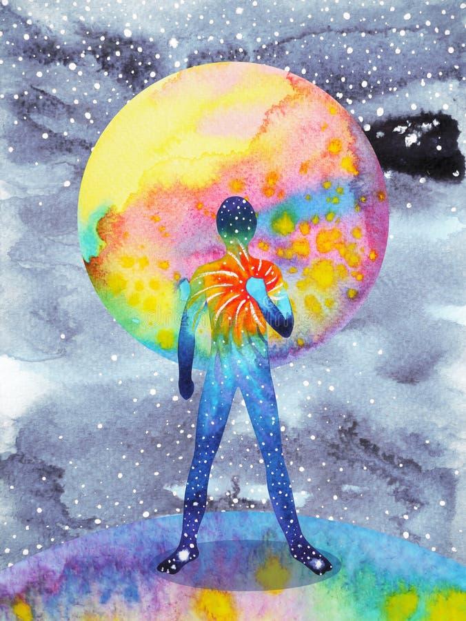 人和宇宙力量,水彩绘画, chakra reiki,在您的头脑里面的抽象世界宇宙 向量例证