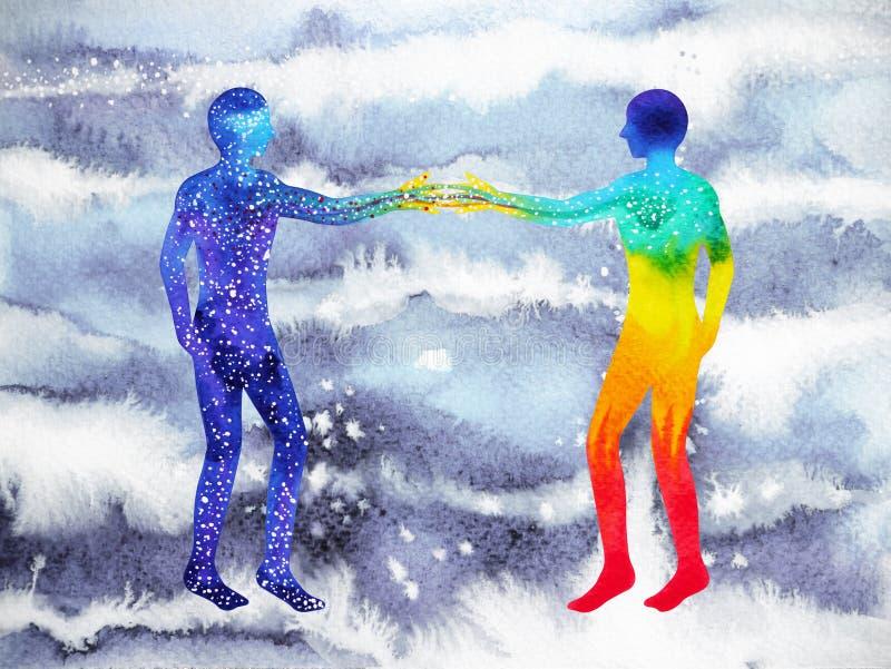 人和宇宙力量,水彩绘画, chakra reiki,策划者在您的头脑里面的世界宇宙 皇族释放例证