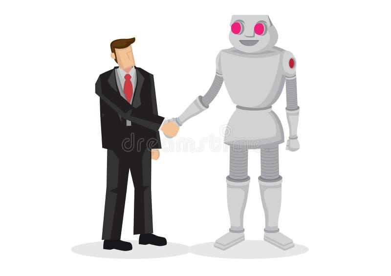 人和机器人手震动 谈判的事务, c的概念 皇族释放例证