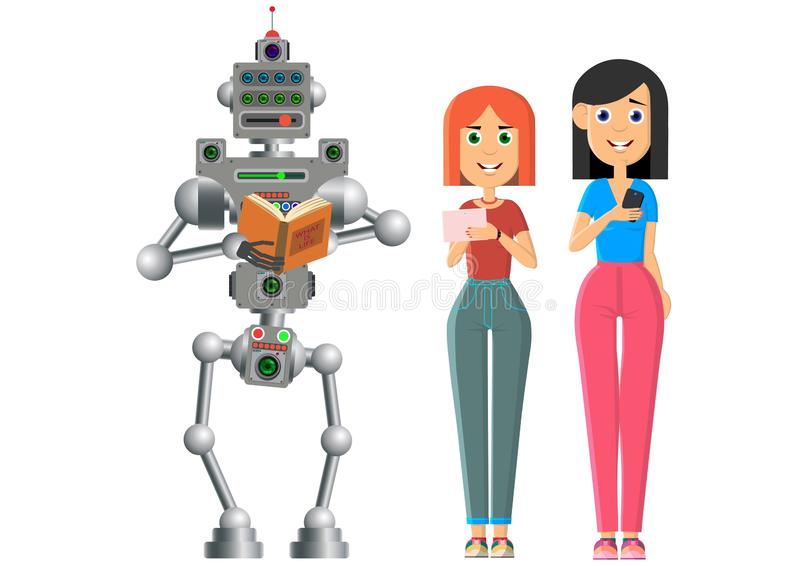 人和机器人是看书 机器人更喜欢在纸的旧书 皇族释放例证