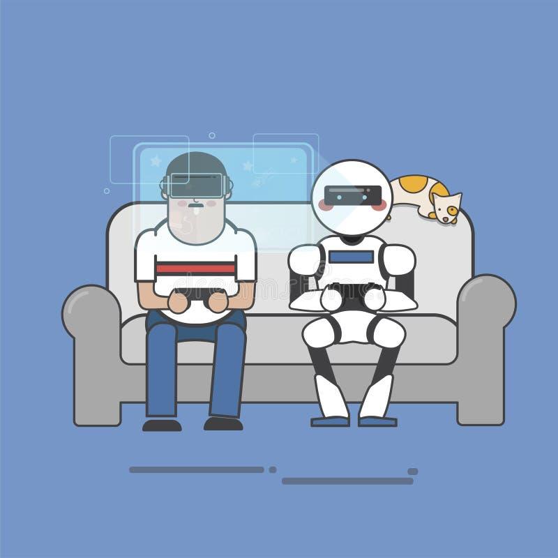 人和机器人虚拟现实赌博的例证 向量例证