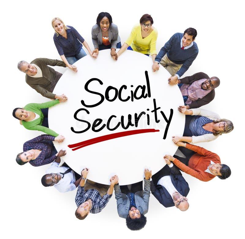人和社会保险概念鸟瞰图  免版税库存图片