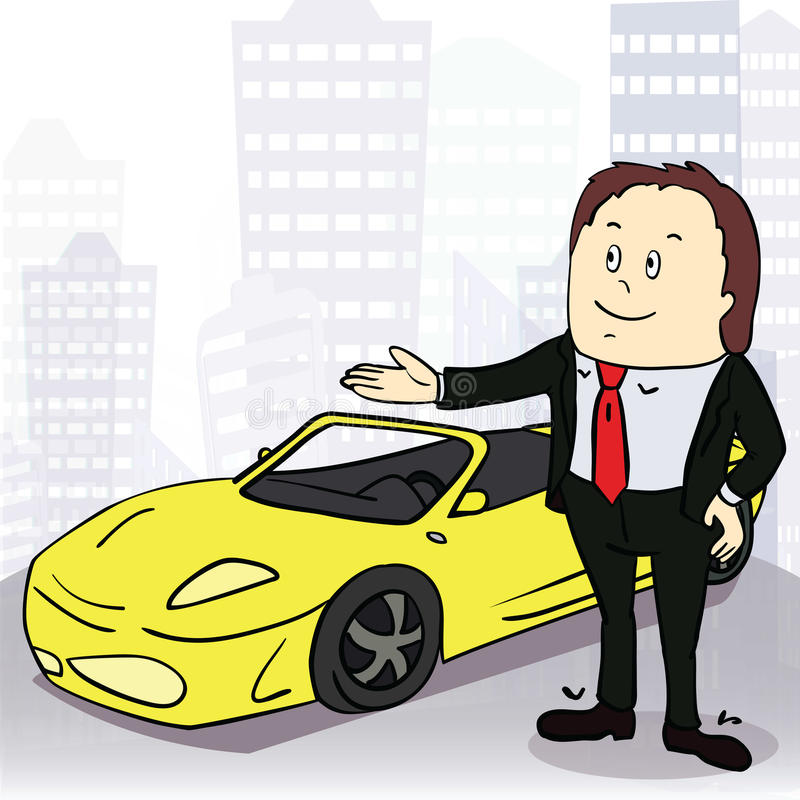人和舒适的汽车在大城市 向量 库存例证