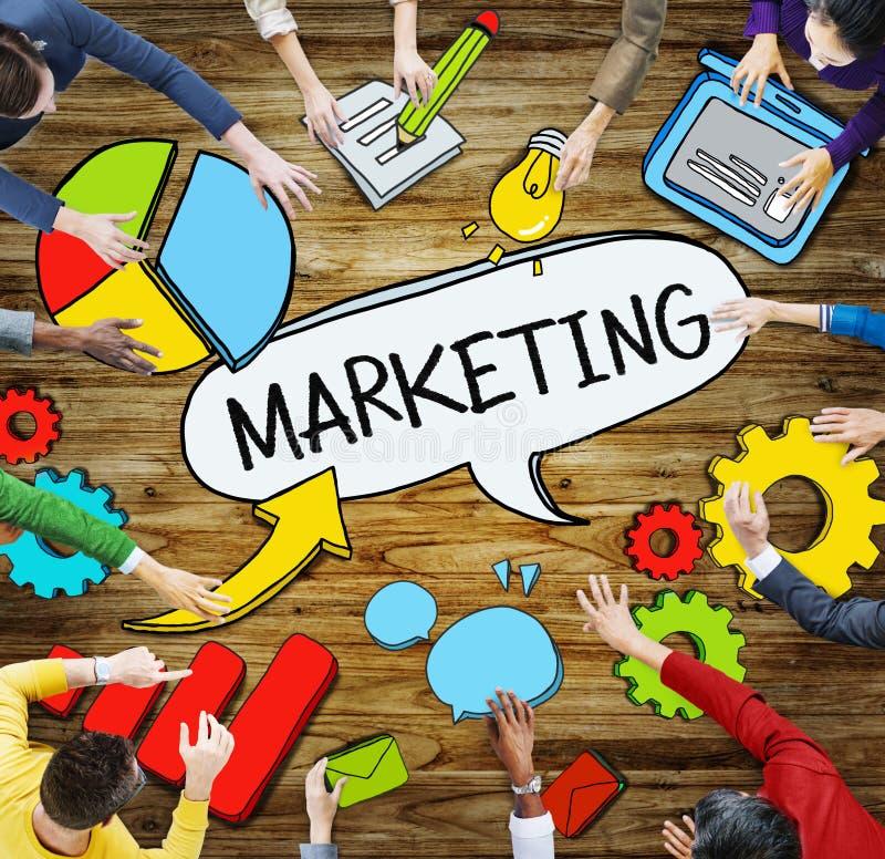 人和营销概念鸟瞰图  库存例证
