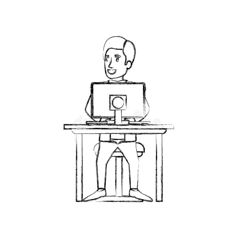 人和边被弄脏的剪影有正装的分开了头发和坐在书桌的椅子有计算机的 向量例证