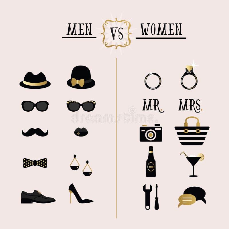 黑人和金黄行家人对妇女辅助部件和设计象 皇族释放例证