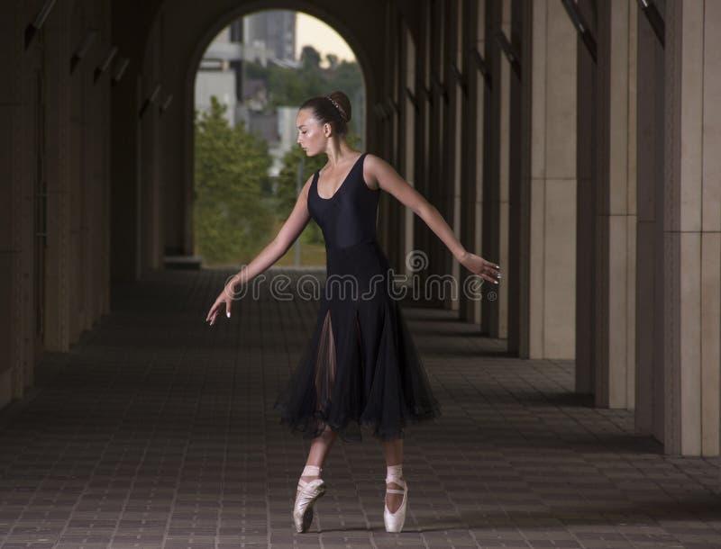 年轻人和难以置信地美丽的芭蕾舞女演员是摆在和跳舞o 库存照片